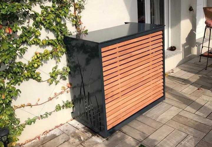 cache climatisation vert sur terrasse